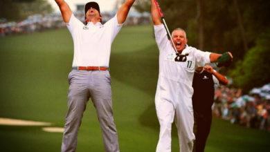 Photo of El momento de la victoria de Adam Scott y Steve Williams en el Masters 2013