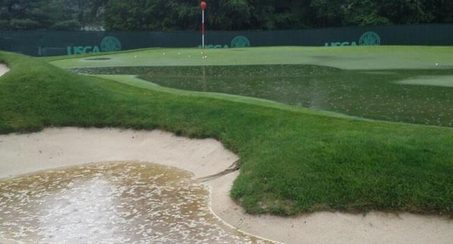 Greens inundados en Merion Golf Club