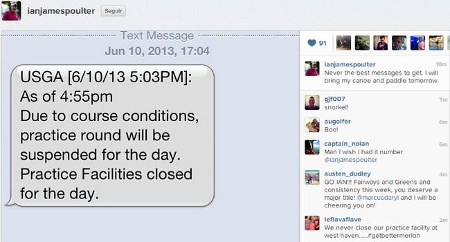La USGA avisando por SMS a los jugadores
