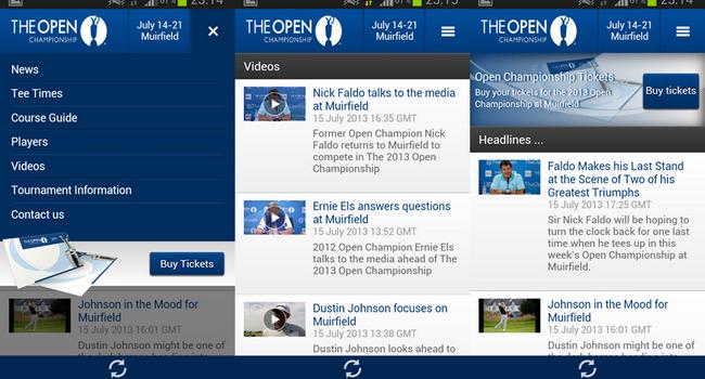Aplicación The Open 2013 para Android - Golf
