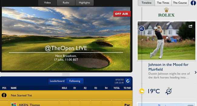 Aplicación The Open 2013 para iPad - Golf