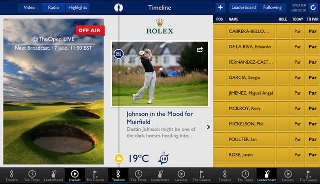 Aplicación The Open 2013 para iPhone - Golf