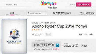 Ver la Ryder Cup en directo por Internet con Yomvi