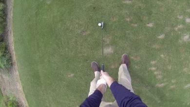 Swing de golf en primera persona