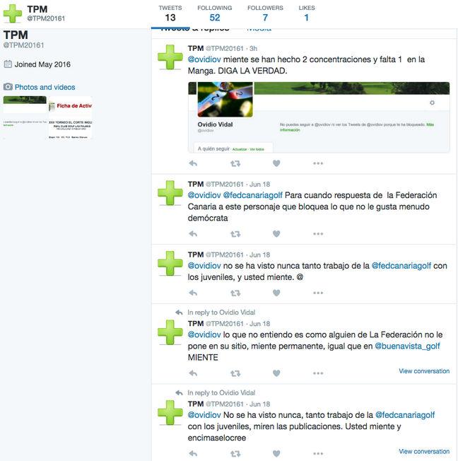 Troll Twitter - Federación Canaria de Golf