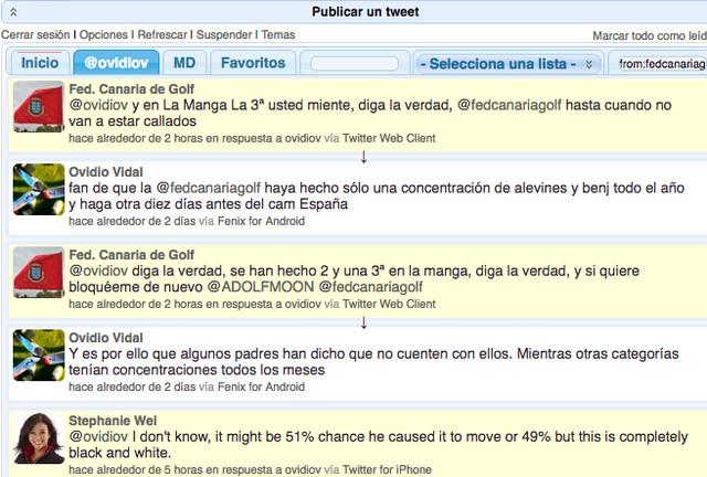 Troll Twitter Federacion Canaria de Golf