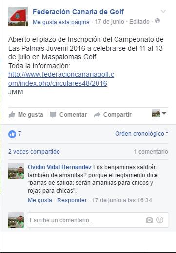 Facebook de la fedeacion canaria de golf