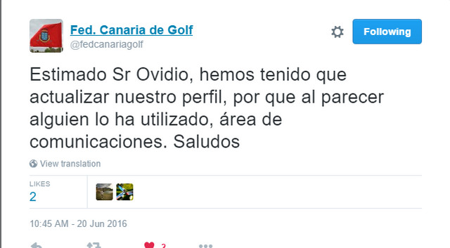 Detalle captura de pantalla Troll Twitter – Federación Canaria de Golf